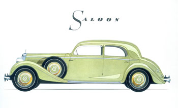 Poster advertising 1939 Mercedes Benz Saloon