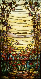 Leaded-glass Landscape Window, Red Flowers