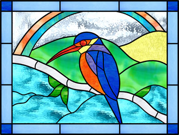 Kingfisher - Stained Glass