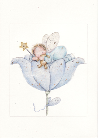 Baby Boy Fairy in Flower Cup
