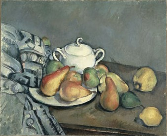Sugar Bowl, Pears and Curtain, Paul Cezanne