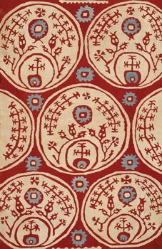 Red Vertical Pattern Cover Linen embroidered with Silk: V&A