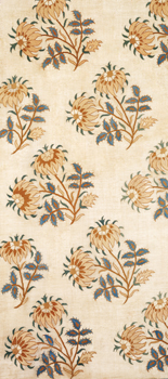 Part of a Cover Linen embroidered with Silk Thread: V&A