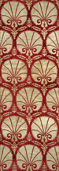 Fan Pattern Furnishing Fabric of Velvet and Silk with Metal Threads: V&A