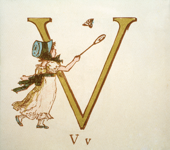 Letter 'V' from Kate Greenaway's Alphabet Book