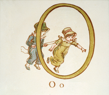 Letter 'O' from Kate Greenaway's Alphabet Book
