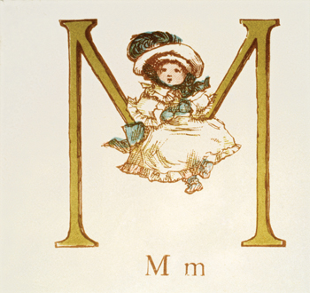 Letter 'M' from Kate Greenaway's Alphabet Book