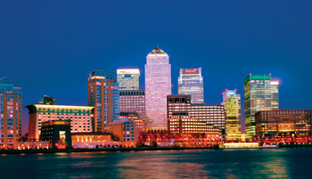 Financial District of Canary Wharf at Dusk