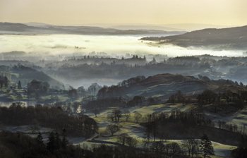 Mists over Windermere and Loughrigg Tarn, Lake District