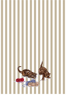 Kittens at Play on Stripes