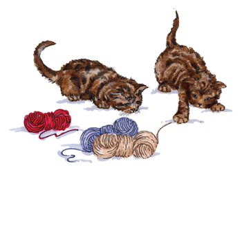 Kittens Playing with Wool