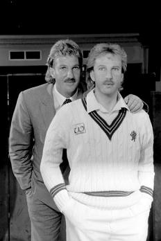 Ian Botham with his Madame Tussaud Waxwork
