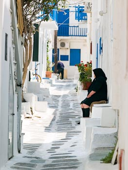 View down Side Street, Mykonos