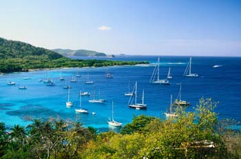 Sailboats in the Bay of Mustique, Caribbean