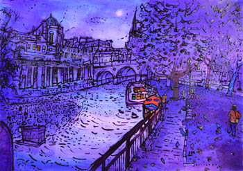 Pulteney Bridge, Bath, from the river - evening