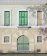 Cream Mallorcan Villa with Green Shutters