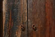 Wooden Doors with Rusty Handles