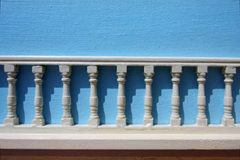 Balustrade against Blue Wall