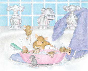 Baby Mice having a Bath