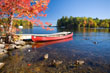 Autumnal Colours with Boat, Maine, New England, USA