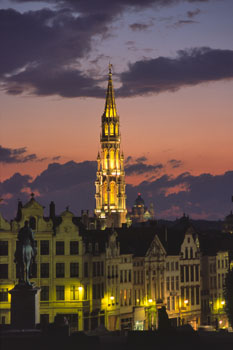 City Hall Dominates the Skyline at Dusk, Brussels, Belgium