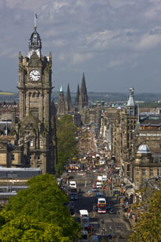Princes Street from Calton Hill, Edinburgh, Scotland
