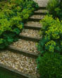 Gravel and Sleeper Path with Alchemilla Mollis