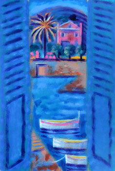 Pink House through Blue Shutters