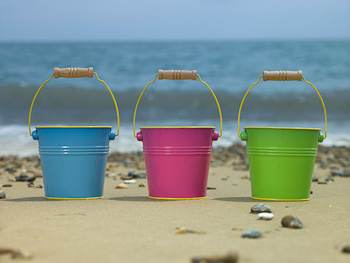 Blue, Pink and Green Buckets