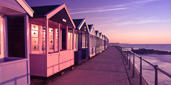 Pink And Purple Beach Huts Blinds Creatively Different
