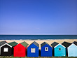 Beach Huts with Blue Sky