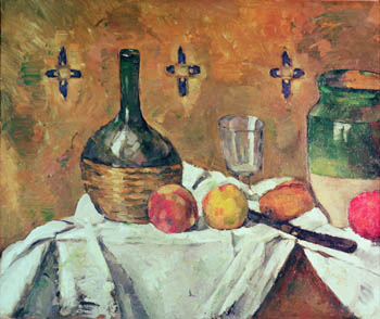 Flask, Glass and Fruit, Paul Cezanne, 1877