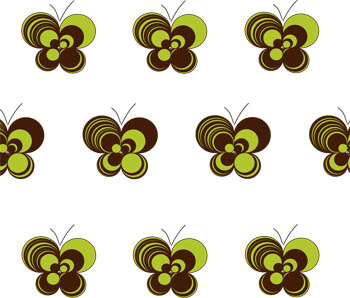 Loopy Butterflies - White Brown Lime
