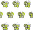 Loopy Butterflies - White Grey Lime
