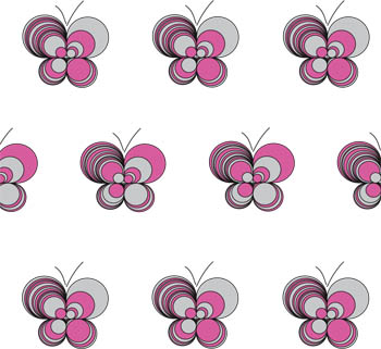 Loopy Butterflies - White Grey Pink