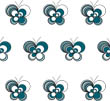 Loopy Butterflies - White Teal