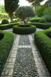 Clipped Box Parterre with Pebble Path, Provence