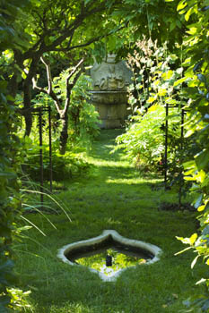 Secret Wisteria Walk with Pool and Renaissance Stone Fountain - Chateau Plaisir, France