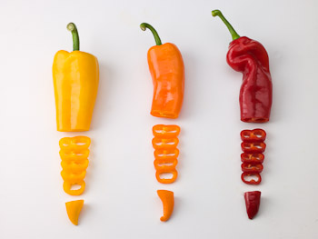 Yellow, Orange and Red Peppers
