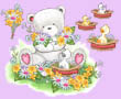 Popcorn the Bear with Flowers on Pink
