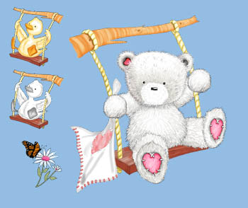 Popcorn the Bear with Souffle on Swing