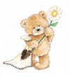 Popcorn the Bear with Flower