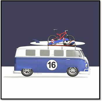 Blue 16 Campervan with Surfboard, Skateboard, Balls and Bike