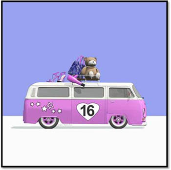 Pink 16 Campervan with Teddy Bear, Shoes, Hairdryer and Bag on Violet