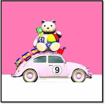 Pink 9 Beetle with Bear, Train, Bricks, Bucket and Spade