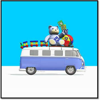 Blue Campervan with Bear, Train, Ball, Bricks and Bucket and Spade