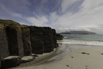 Basalt Columns and Beach, Isle of Canna, Hebrides, Scotland