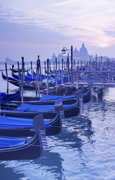 Row of Gondolas, Venice - evening