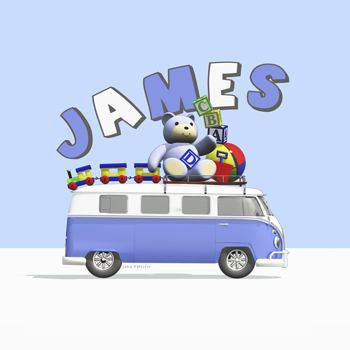 James - Blue Campervan with Teddy Bear