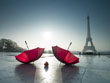 Red Umbrellas and Eiffel Tower, Paris